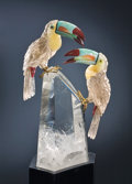 Lapidary Art:Carvings, TOUCAN COUPLE ON POLISHED LIT ROCK CRYSTAL BASE. ...