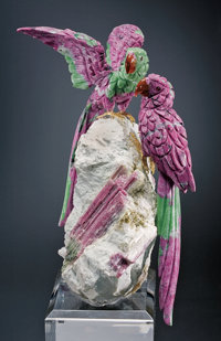 RUBY MACAW COUPLE ON RED TOURMALINE BASE