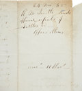 Autographs:Military Figures, Robert E. Lee Autograph Endorsement with Carte de Visite. Two-page letter addressed to Lee, penned on recto and ...