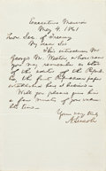 """Autographs:U.S. Presidents, Abraham Lincoln Autograph Letter Signed as President. One page on plain, lined paper, 5"""" x 8"""", """"Executive Mansion, May 4, ..."""