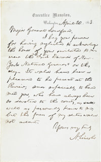 "Abraham Lincoln Autograph Letter Signed as President. One page, 5"" x 8"", ""Executive Mansion, Washington..."