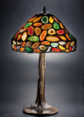 Lapidary Art:Lamps, TIFFANY-STYLE AGATE LAMP SHADE. ...