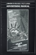 "Movie Posters:Action, Escape from New York (Avco Embassy, 1981). Pressbook (Multiple Pages, 10.75"" X 17""). Action.. ..."