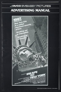 "Escape from New York (Avco Embassy, 1981). Pressbook (Multiple Pages, 10.75"" X 17""). Action"