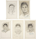 "Baseball Collectibles:Others, Pittsburgh Pirates Signed Original Artwork Lot of 5 from ""RaittCollection""...."