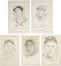 "Baseball Collectibles:Others, St. Louis Cardinals Stars Signed Original Artwork Lot of 5 from""Raitt Collection""...."