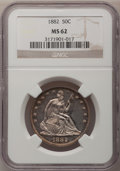 1882 50C MS62 NGC. NGC Census: (4/37). PCGS Population (8/54). Mintage: 4,400. Numismedia Wsl. Price for problem free NG...