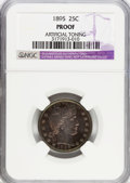 Proof Barber Quarters: , 1895 25C --Artificial Toning--NGC Details. Proof. NGC Census: (1/196). PCGS Population (10/202). Mintage: 880. Numismedia Ws...