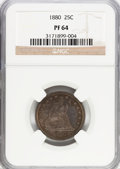 Proof Seated Quarters: , 1880 25C PR64 NGC. NGC Census: (101/99). PCGS Population (93/91).Mintage: 1,355. Numismedia Wsl. Price for problem free NG...