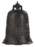 Asian:Chinese, A Chinese Bronze Bell. Unknown maker, Chinese. 19th century.Bronze. Unmarked. 37 inches high. The support finial as a d...