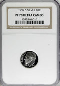Proof Roosevelt Dimes: , 1997-S 10C Silver PR70 Deep Cameo NGC. NGC Census: (123/0). PCGSPopulation (57/0). Numismedia Wsl. Price for NGC/PCGS coi...