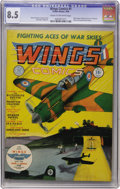 Golden Age (1938-1955):War, Wings Comics #1 (Fiction House, 1940) CGC VF+ 8.5 Cream to off-white pages. ...