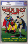 Golden Age (1938-1955):Superhero, World's Finest Comics #3 (DC, 1941) CGC FN/VF 7.0 Off-white pages. The Scarecrow, a villain featured prominently in last sum...