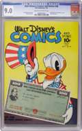 Golden Age (1938-1955):Cartoon Character, Walt Disney's Comics and Stories #46 (Dell, 1944) CGC VF/NM 9.0 Cream to off-white pages....