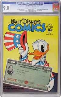 Walt Disney's Comics and Stories #46 (Dell, 1944) CGC VF/NM 9.0 Cream to off-white pages