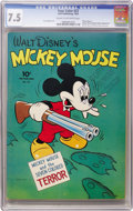 Golden Age (1938-1955):Cartoon Character, Four Color #27 Mickey Mouse (Dell, 1943) CGC VF- 7.5 Cream to off-white pages....