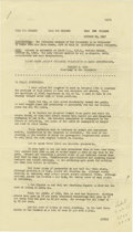 "Autographs:U.S. Presidents, Harry S. Truman ""Special Session of Congress"" Speech Signed ""Harry S. Truman"" at the conclusion, four pages, 8"" x 14"", f..."