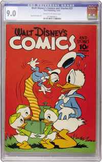 Walt Disney's Comics and Stories #27 (Dell, 1942) CGC VF/NM 9.0 Cream to off-white pages