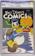 Golden Age (1938-1955):Cartoon Character, Walt Disney's Comics and Stories #36 (Dell, 1943) CGC VF 8.0Off-white to white pages....