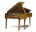 Furniture : Continental, A Continental Walnut Veneered Pine Silver Colored Metal Inlays, Possibly Pewter Pianoforte. Unknown maker, Austrian or Ita...