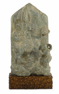 Asian:Chinese, A Chinese Carved Hardstone Stele. Unknown maker, Chinese. Late QingDynasty. Hardstone. Unmarked . 24.5 inches high x 13.5...