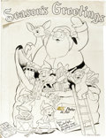 Original Comic Art:Splash Pages, Sheldon Mayer - Rudolph, The Red-Nosed Reindeer and Santa ClausPin-Up Poster Original Art (DC, c.1980)....