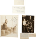 "Autographs:Artists, Group of 4 Artists' Signatures: (1) Rube Goldberg Photo Signed (8""x 10"", November 1953); (2) Norman Rockwell Postcard... (Total: 4Items)"