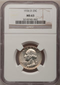 Washington Quarters: , 1936-D 25C MS63 NGC. NGC Census: (155/489). PCGS Population(265/1003). Mintage: 5,374,000. Numismedia Wsl. Price for probl...
