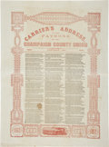"""Miscellaneous:Newspaper, Civil War-dated Carrier's Address Broadside: """"To the Patrons ofthe Champaign County Union."""" One page, 12.5"""" x 1..."""