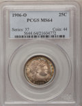 Barber Quarters: , 1906-O 25C MS64 PCGS. PCGS Population (31/57). NGC Census: (38/34).Mintage: 2,056,000. Numismedia Wsl. Price for problem f...