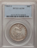 Seated Half Dollars: , 1865-S 50C AU50 PCGS. PCGS Population (7/33). NGC Census: (2/29).Mintage: 675,000. Numismedia Wsl. Price for problem free ...