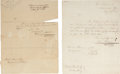 """Autographs:Military Figures, Tobias Lear Documents (Two) Signed. Both are dated 1815 and sent from the """"War Department, Accountants Office"""". Lear, be... (Total: 2 Items)"""