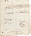 Autographs:Statesmen, Colonial Boston Postal Manuscript Document, ca. early 1700s,regarding a proposal by a postal committee concerning payme...
