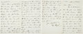 "Autographs:Military Figures, [Frederic Remington] Colonel Edward M. Heyl Autograph Letter Signed. Four pages (bifolio), approximately 5"" x 8"", on Heyl's ..."