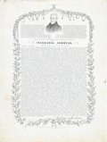 """Autographs:U.S. Presidents, [Andrew Jackson] Printed Inaugural Address. Glossy card stock, 5"""" x6.5"""", with presidential vignettes around the border and ..."""