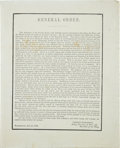 """Autographs:U.S. Presidents, [Andrew Jackson] General Order announcing the death of formerPresident Jackson. One page, 8"""" x 10"""", Washington, June 16, 18..."""