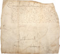 Autographs:Non-American, Catherine de Medicis Partial Document Signed as Queen of France.One page, penned in early French on vellum, approximately 1...