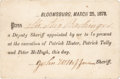 "Miscellaneous:Ephemera, Pass To The 1878 Execution Of Three Molly Maguires. One page, 3.75""x 2.5"", printed on cardstock, ""Bloomsburg, March 25, ..."