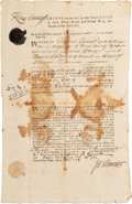 "Autographs:Non-American, [George II] Colonial Rhode Island Document. One partly-printedpage, 8"" x 12.75"", Newport, May 1, 1742, commanding a collect..."