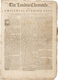 """Miscellaneous:Newspaper, Pre-Revolutionary War Newspaper: The London Chronicle orUniversal Evening Post. Eight pages, 8.5"""" x 11.5"""", May ..."""