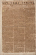 "Miscellaneous:Newspaper, Revolutionary War-dated Newspaper: New-Jersey Gazette. Fourpages, 9"" x 14"", July 29, 1778, with news of British..."