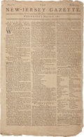 "Miscellaneous:Newspaper, Revolutionary War-dated Newspaper: New-Jersey Gazette. Fourpages, 9"" x 14.5"", March 6, 1782. Includes a proclam..."