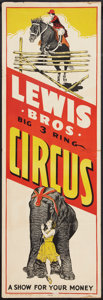 """Movie Posters:Miscellaneous, Circus Poster (Lewis Brothers, 1930s). Poster (14"""" X 40""""). Miscellaneous.. ..."""