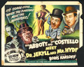 "Movie Posters:Comedy, Abbott and Costello Meet Dr. Jekyll and Mr. Hyde (Universal International, 1953). Half Sheet (22"" X 28"") Style A. Comedy.. ..."