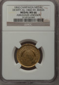 U.S. Presidents & Statesmen, 1860 Abraham Lincoln Campaign Medal MS66 NGC. Dewitt-AL-1860-59.Brass....