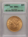 1892-S $20 MS61 ICG. NGC Census: (1377/1689). PCGS Population (643/1690). Mintage: 930,150. Numismedia Wsl. Price for pr...