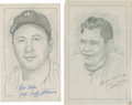 "Baseball Collectibles:Others, New York Yankees Signed Original Artwork Lot of 2 From ""RaittCollection""...."