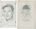 """Autographs:Bats, Boston Red Sox Signed Original Artwork Lot of 2 From """"RaittCollection""""...."""