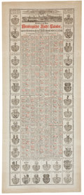 Antiques:Posters & Prints, Nürnbergischer Raths Kalender, 1772. A 1772 calendar, printed inblack and red, decorated with engraved images of the city o...