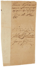 "Autographs:U.S. Presidents, Slavery: George Washington Receipt Signed ""G: Washington"" approving payment of ""expenses after runaways [slaves]..."